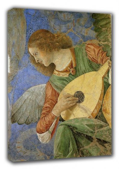 Forli, Melozzo da: Music Making Angel (Angel Playing a Lute). Fine Art Canvas. Sizes: A3/A2/A1. (00521)
